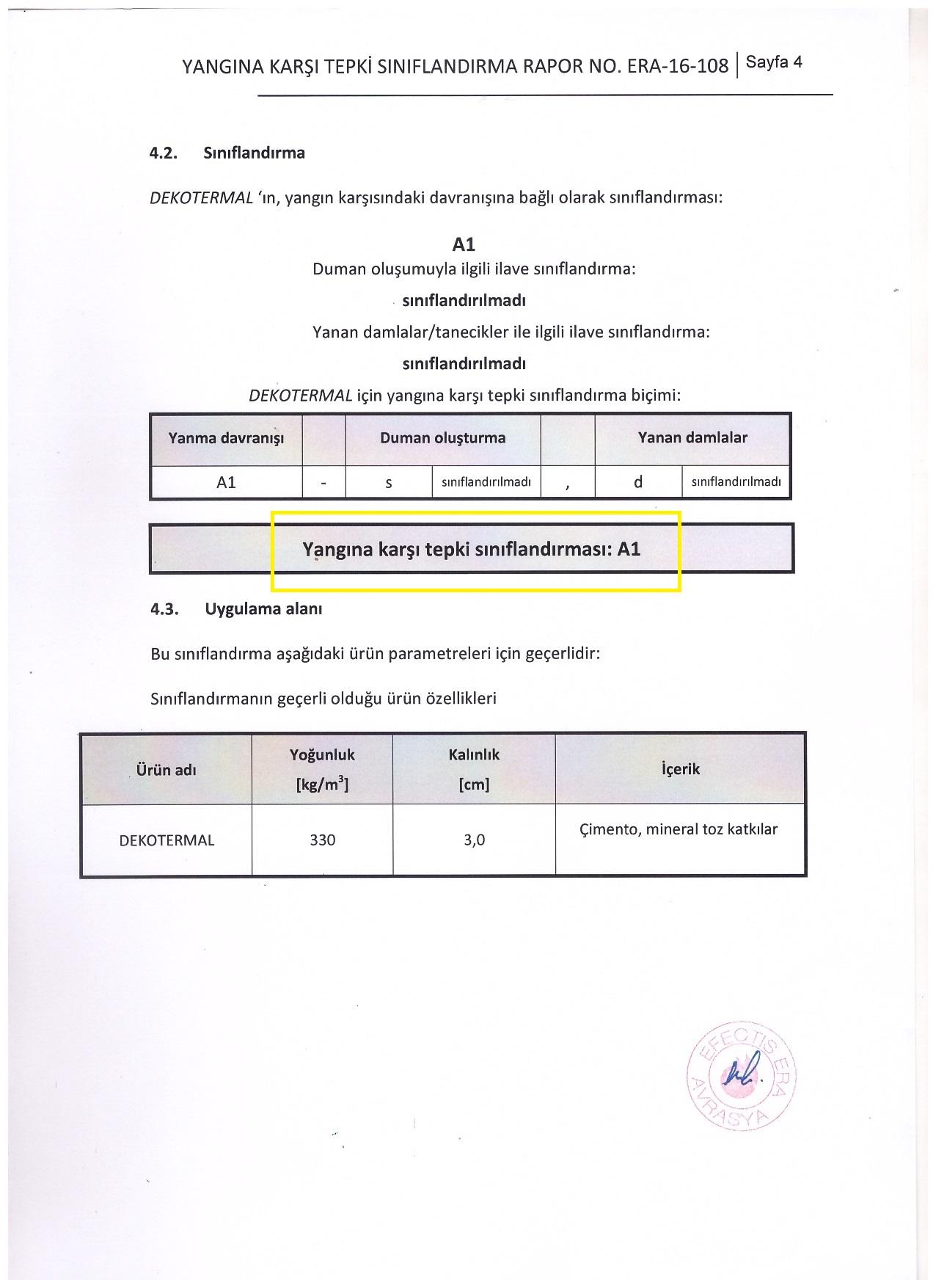 Kazem Yapı A1 Yangın Sınıfı belgesi 4