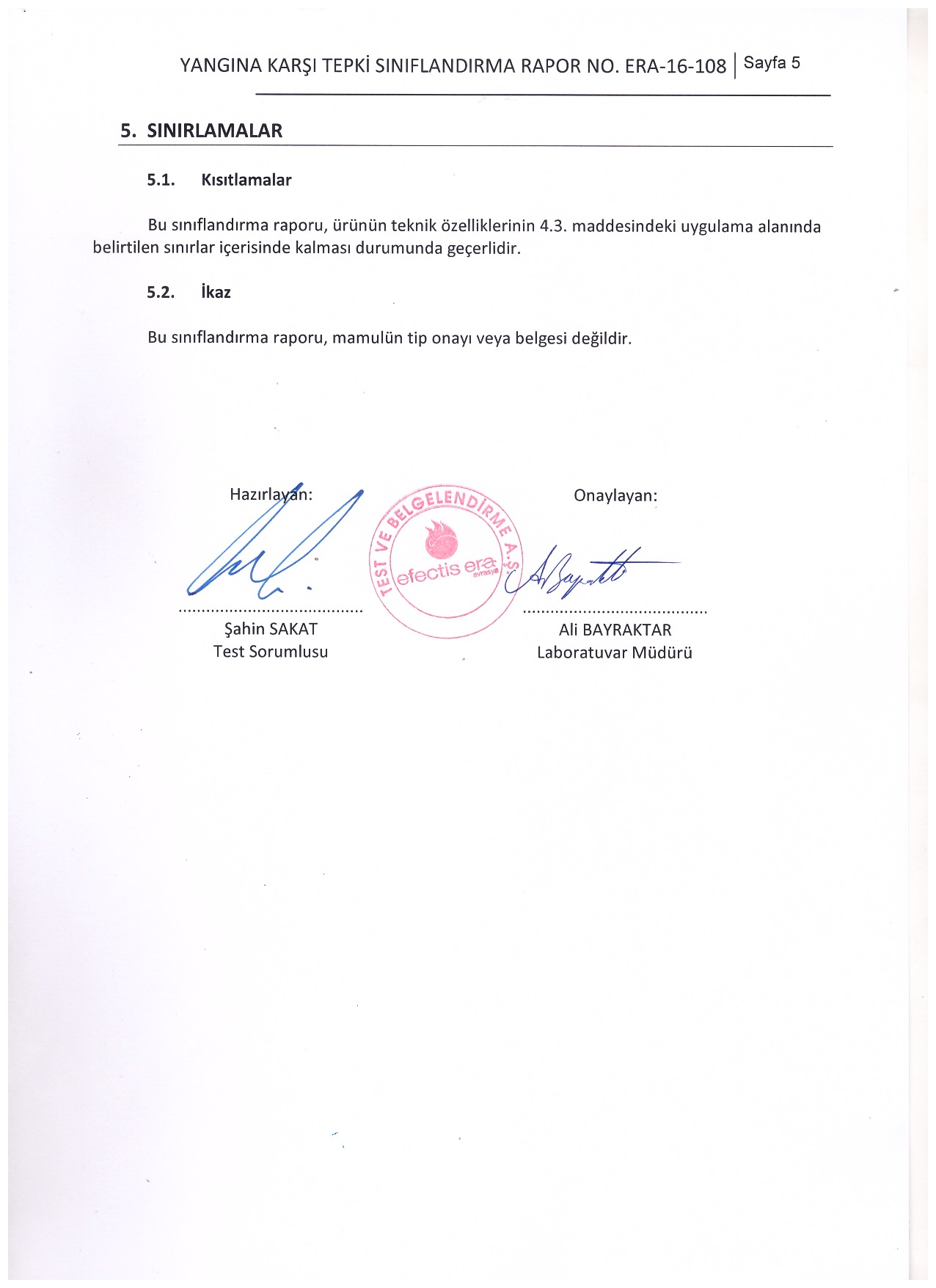 Kazem Yapı A1 Yangın Sınıfı belgesi 5